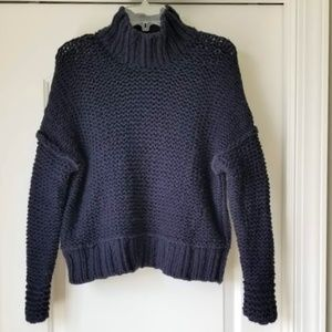 Free People Chunky Knit Oversized Navy Sweater S